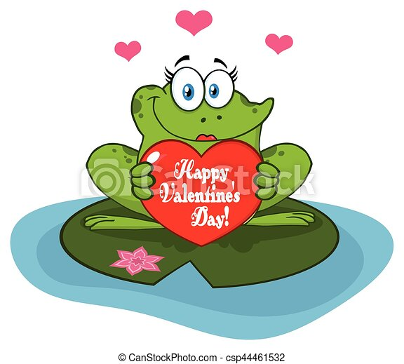 Frog Female Cartoon Mascot Character In A Pond Holding A Valentine Love Heart With Text Happy Valentines Day - csp44461532