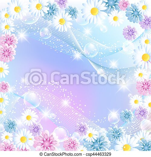 Floral magic background with bubbles and flowers - csp44463329