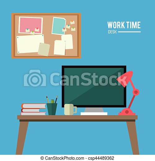 Clip Art Vector of work time desk space laptop lamp notice board ...