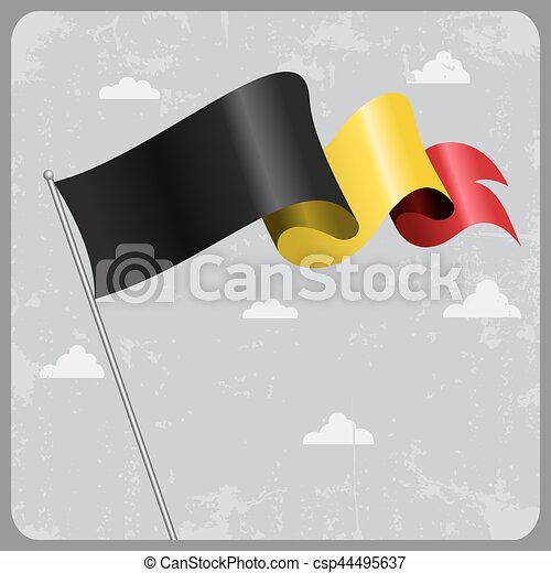 Belgian wavy flag. Vector illustration. - csp44495637