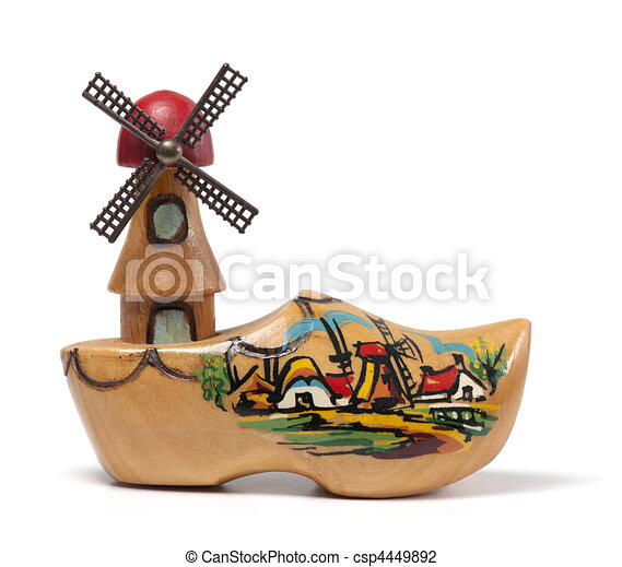 Clip Art of Windmill Clog - A wooden clog windmill souvenir from the ...
