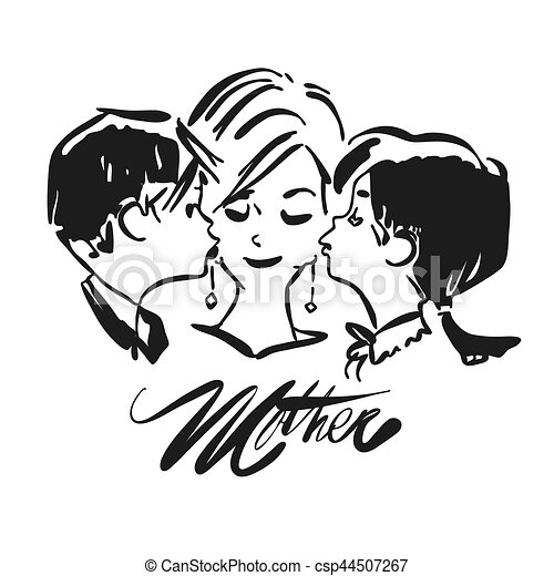 Mothers Day, Kids kiss Mother - csp44507267