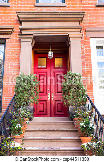 apartment building door nyc stock photo instant download csp44511330. Black Bedroom Furniture Sets. Home Design Ideas