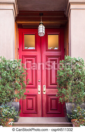 stock photos of apartment building door nyc typical entrance door to a new csp44511332. Black Bedroom Furniture Sets. Home Design Ideas