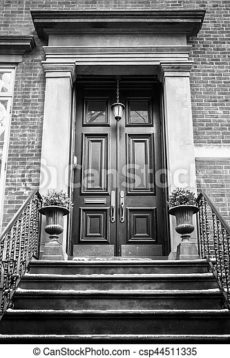 stock photos of apartment building door nyc typical entrance door to a new csp44511335. Black Bedroom Furniture Sets. Home Design Ideas
