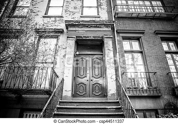 stock photos of apartment building door nyc typical entrance door to a new csp44511337. Black Bedroom Furniture Sets. Home Design Ideas