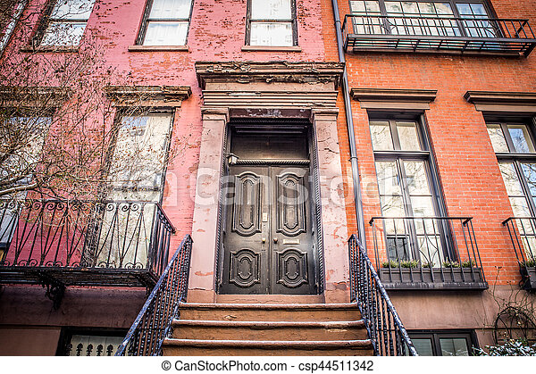 stock photo of apartment building door nyc typical entrance door to a new csp44511342. Black Bedroom Furniture Sets. Home Design Ideas
