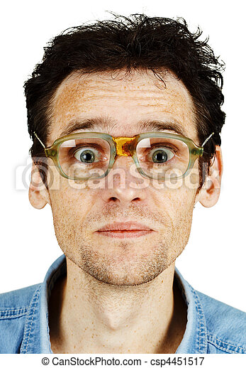 Amusing tousled man in old ridiculous spectacles - csp4451517