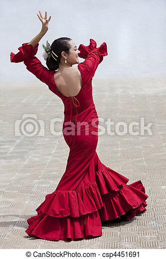 Traditional Woman Spanish Flamenco Dancer In Red Dress - csp4451691