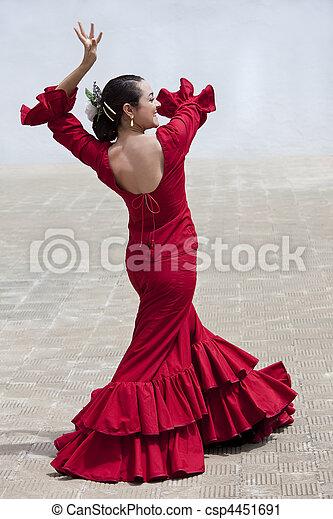 tradycyjny, kobieta, hiszpański,  Flamenco, tancerz, w, czerwony, Strój - csp4451691