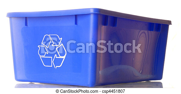 blue recycle bin isolated on white background - csp4451807