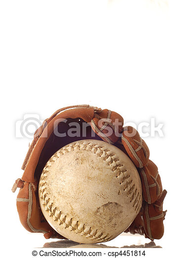 weathered baseball and baseball glove  - csp4451814