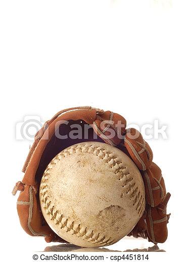 weathered baseball and baseball glove  - csp4451814