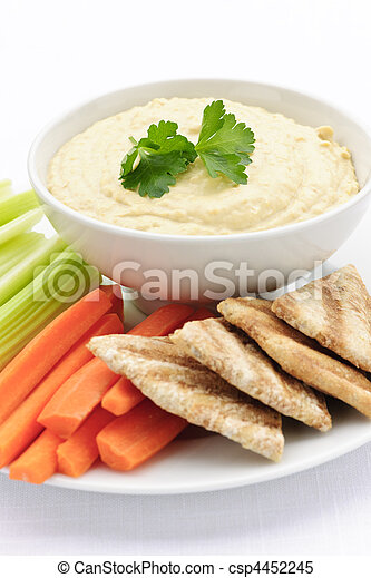 Hummus with pita bread and vegetables - csp4452245