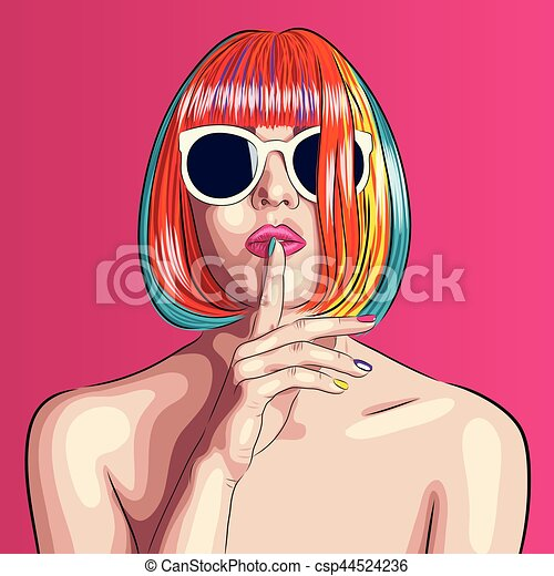 vector beautiful woman wearing colorful wig and white sunglasses - csp44524236