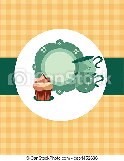 plate and cups beside dessert on retro background-2 - csp4452636