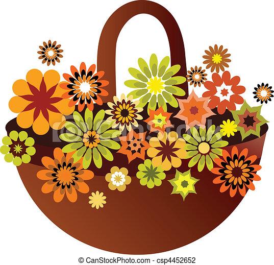 spring flower basket card, vector illustration - csp4452652