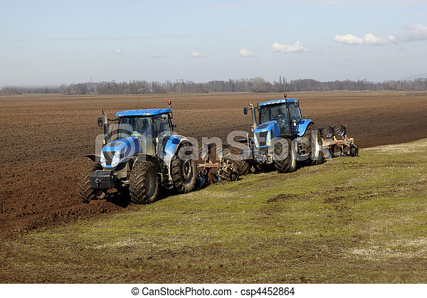 agriculture tractor cultivated land field vegetable - csp4452864