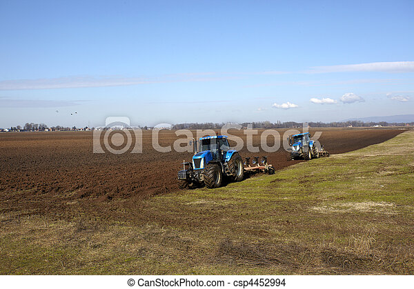 agriculture tractor cultivated land field vegetable - csp4452994