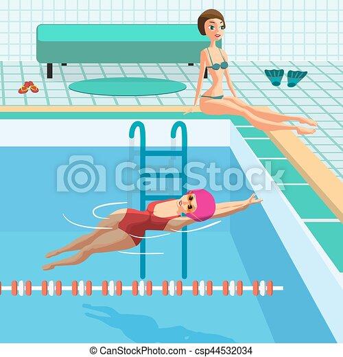 Vecteurs de bleu plat natation piscine int rieur - Clipart piscine ...