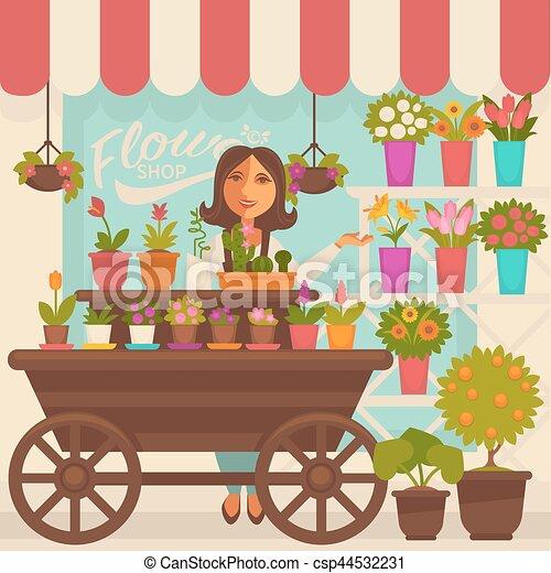 Vector van bloemist persoon bloemen vrouwlijk vitrine - Fleuriste dessin ...