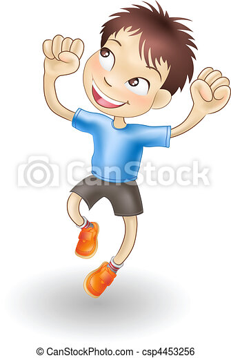 Young boy jumping for joy - csp4453256