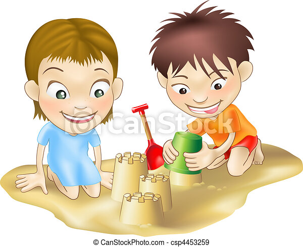 two children playing in the sand - csp4453259