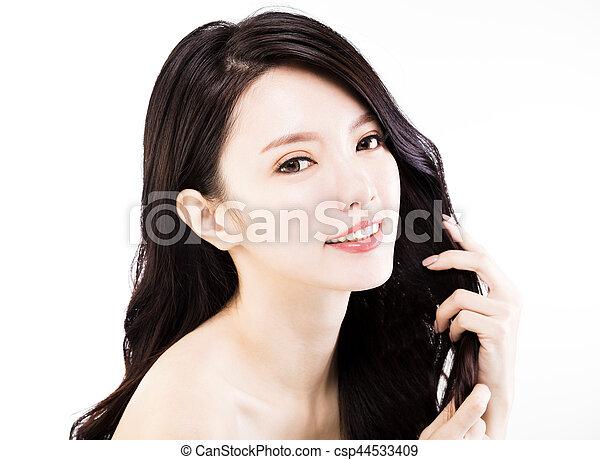 mulher, dela, saudável, jovem, cabelo, tocar, pretas - csp44533409