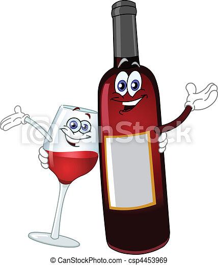 vecteurs eps de boire copains a bouteille de vin et a verre csp4453969 recherchez. Black Bedroom Furniture Sets. Home Design Ideas