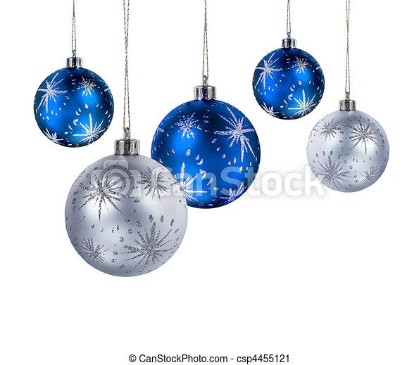 Blue silver christmas balls - csp4455121