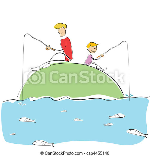 father and son fishing - csp4455140