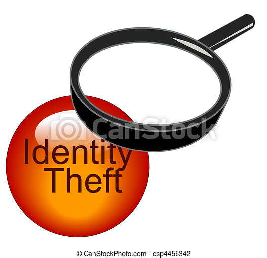 magnifying glass over top of identity theft - csp4456342