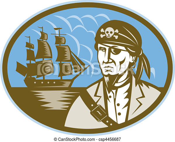 Pirate with sailing tall ship in background - csp4456687