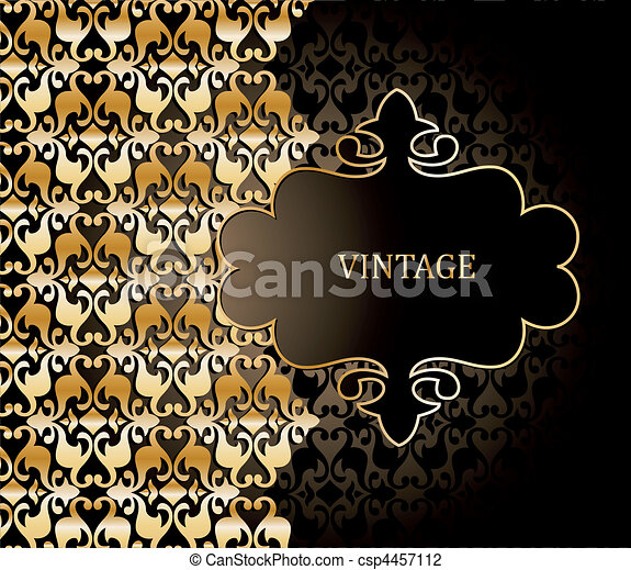 Vector damask pattern and illustration frame - csp4457112