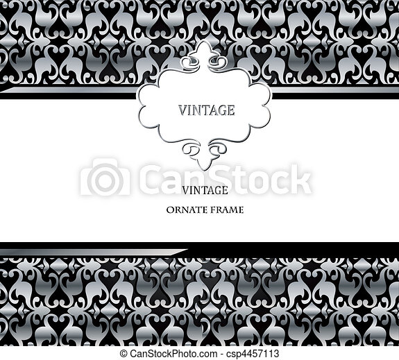 Vector damask gold pattern and frame - csp4457113