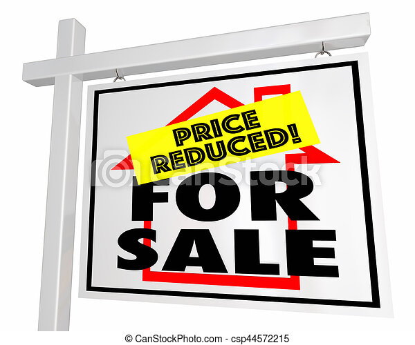 For Sale Price Reduced Home House Real Estate Sign 3d Illustration - csp44572215