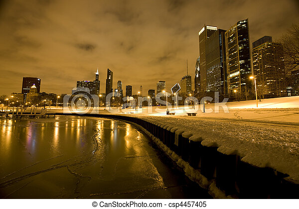 Chicago Downtown City  Night Photography - csp4457405
