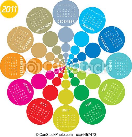 Colorful Circular Calendar 2011 - csp4457473
