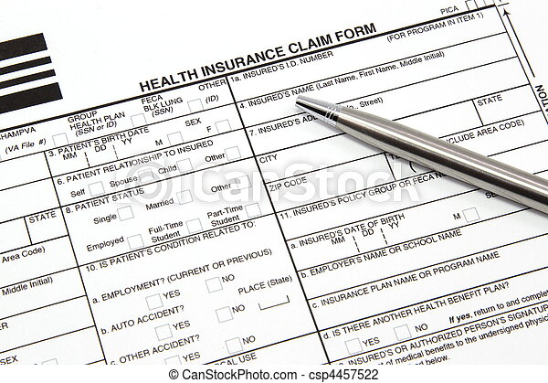 Health Insurance Claim Form with Silver Pen - csp4457522