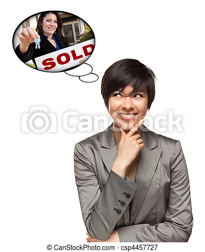 Beautiful Multiethnic Woman with Thought Bubbles of Real Estate Agent Holding Sold Sign Handing Over Keys Isolated on a White Background. - csp4457727