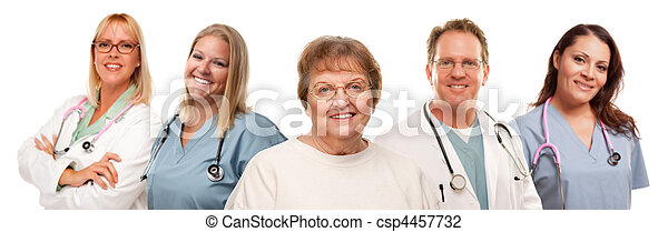 Smiling Senior Woman with Medical Doctors and Nurses Behind - csp4457732