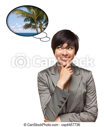 Beautiful Multiethnic Woman with Thought Bubbles of a Tropical Place Isolated on a White Background. - csp4457736