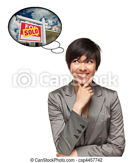 Multiethnic Woman with Thought Bubbles of Sold Real Estate Sign - csp4457742