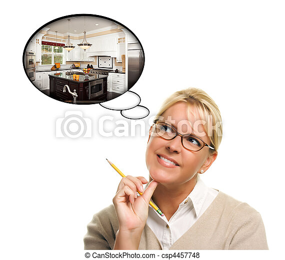 Woman with Thought Bubbles of a New Kitchen Design - csp4457748