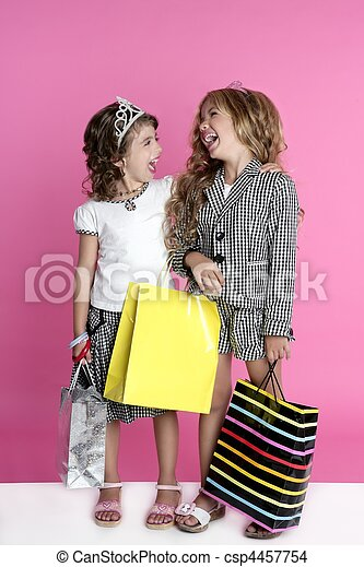 Little shopper humor shopaholic girls - csp4457754