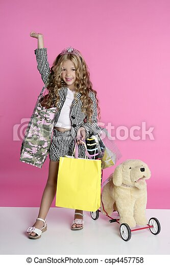 Little shopper humor shopaholic girl - csp4457758