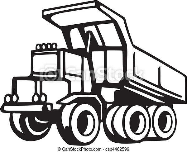 Construction vehicles clipart black and white