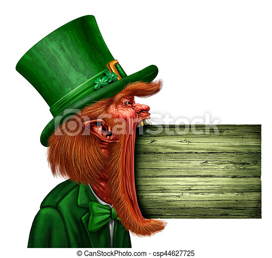 Leprechaun Saint Patrick Sign - csp44627725