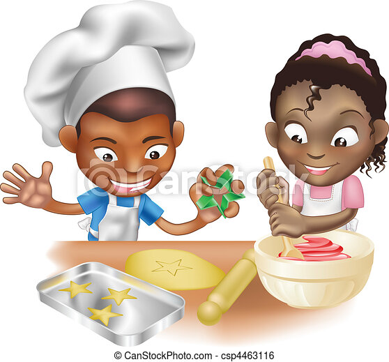 two children having fun in the kitchen - csp4463116
