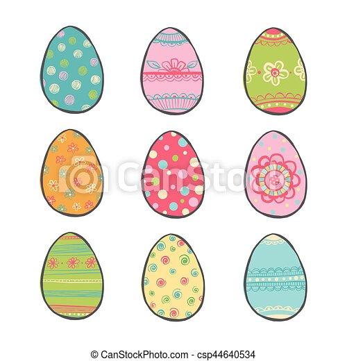 Hand drawn easter eggs set. - csp44640534